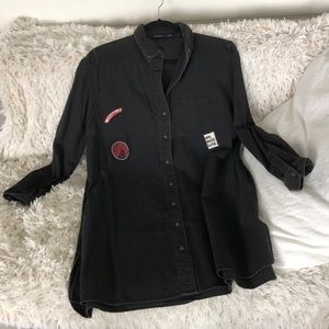 Zara button down dress with patches